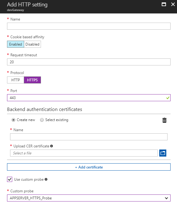 Create HTTP setting