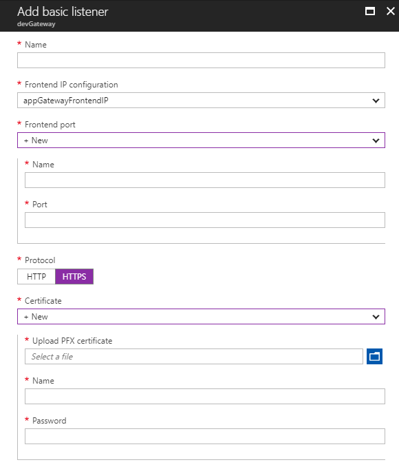 Create Listener on Azure Portal