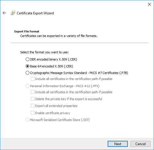 Certificate Export Wizard Dialog
