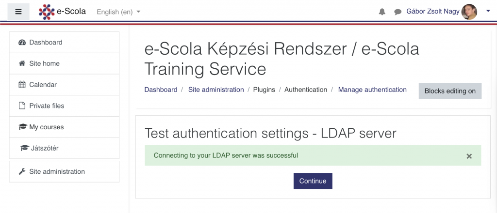 Successful LDAP server connection