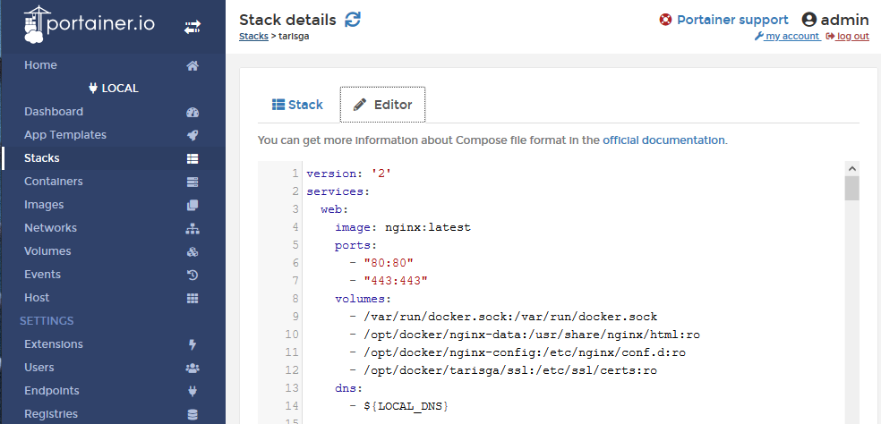 Edit the stack file to use the NGINX image.